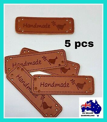 PU LEATHER LABELS 5pcs, Clothing Label, DIY, Craft, Handmade With Bird, Sew On