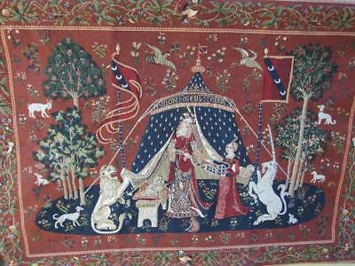 Vintage Flemish Tapestry(The Lady with the Unicorn )Made in France Hand Finished