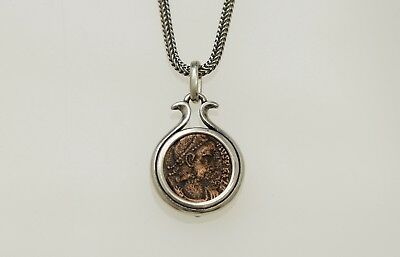Sterling Silver Neckless with a Genuine Ancient Roman Bronze coin. w/Cert - 017