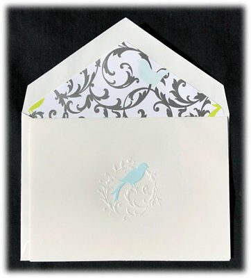 VINTAGE CRANE & Co Yellow Engraved Butterfly Single Blank Note Card