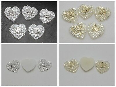 50 Acrylic Pearl Flatback Heart Cabochons with Sparkling Gold Flower 18mm