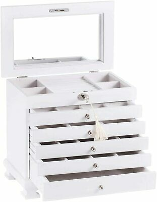 PROMOTION Large Wooden Jewellery Storage Box Earring Display Organizer Gift Case