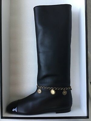 f7bd33898fd CHANEL Leather Chain Charms Coin Medallion Knee High Tall Boots Black Size  41.5