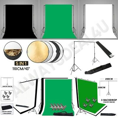 Photography Black White Green Screen Backdrop Video Background Support Stand Kit
