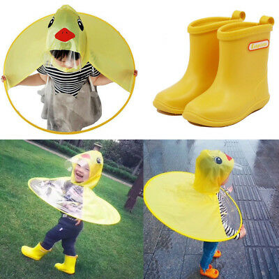Kids Rain Shoes & Hat Cartoon Duck Children Raincoat Umbrella UFO Shape Cape AU