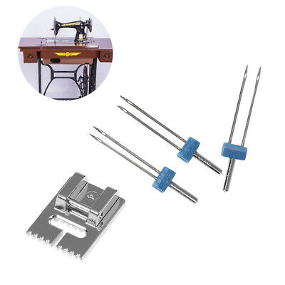 3pcs Double Twin Needles+Wrinkled Sewing Presser Foot for Sewing Machine HOT