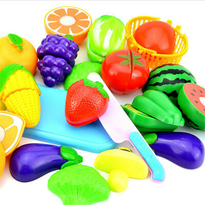 Kid Child Pretend Role Play Kitchen Fruit Vegetable Food Toy Cutting Set Gift BP