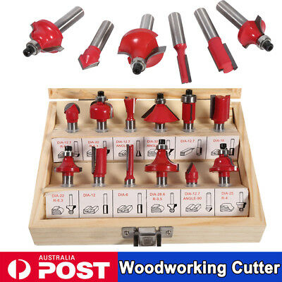 12PCS Router Bits Set 8mm Shank Tungsten Carbide Tip Woodworking Cutter Tools