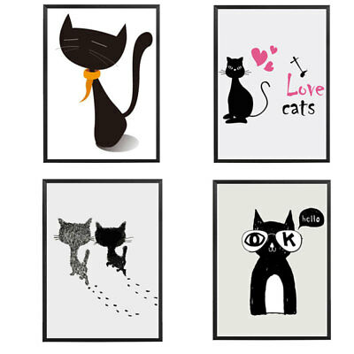 Unframed Flowers Modern Art Cat Canvas Painting Picture Print Home Wall Decor