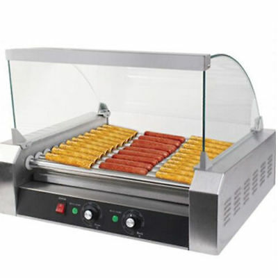 Commercial 11-Roller Hot Dog Grill Cooker Machine with Cover Sausage Stainless