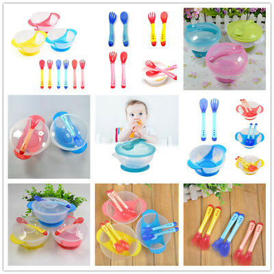 1 Set Baby Temperature Spoon Suction Bowl Feeding Set Non-slip Bowl Tableware