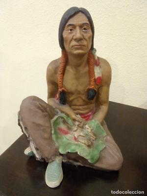 Gran Figura De Resina De Indio Americano -Made In Usa-