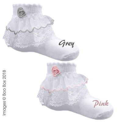 Baby Girls Frilly Lace Rose Pink Grey Trim Cotton Rich Ankle Socks 0-12 Months