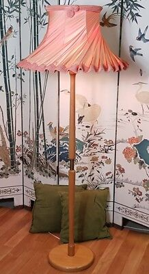 Retro / Vintage Standard Lamp / Floor Lamp with Shade, Blonde Timber, Atomic.