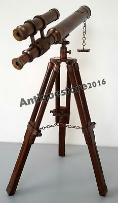 Antique Solid Nautical KELVIN &  HUGHES LONDON 1917 Telescope w/ Wooden Tripod