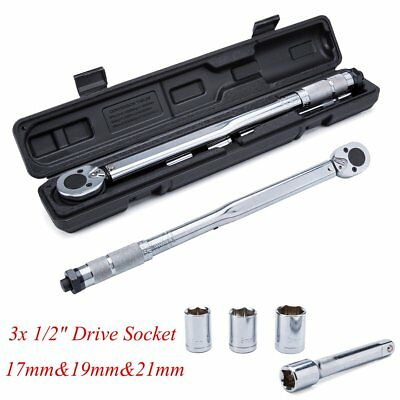 "Ratcheting Torque Wrench 28-210Nm 1/2"" Socket Square Drive w/ Extension&Sockets"