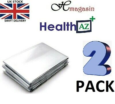 FOIL Premium Thermal Emergency Blanket First Aid Waterproof Camping Pack of 2