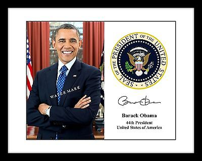 President Barack Obama Official Portrait 4x6 Print With Seal Signed Autograph US