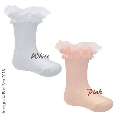Pex Girls Newborn Baby Knee High Cotton Rich Lace Frilly Socks 0-9Y Pink White