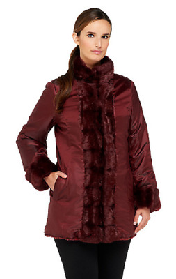 Dennis Basso Reversible Faux Fur Coat with Stand Collar, Wine,Size S, MSRP $152