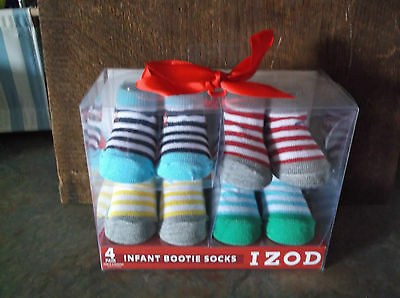Infant Gift Box Of 4 Striped Colored Bootie Socks Size 0-6 Months By Izod Nib