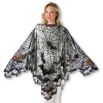 "Creepy Spider Web & Vampire Bats Poncho Halloween Pullover Costume 38"" Length"