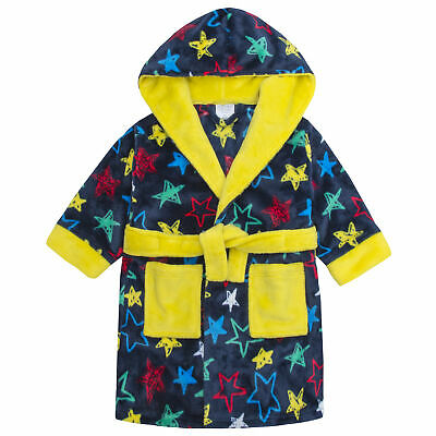 Boys Star Print Dressing Gown Robe Soft Plush Fleece Hooded Fluffy Colourful