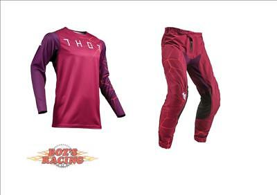 2019 Thor Racing Prime Pro Infection Maroon/red Orange Jersey And Pant Combo