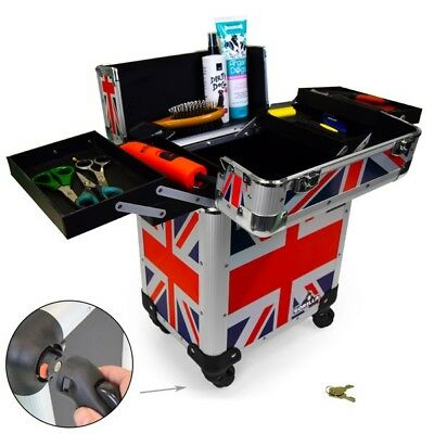 Pro Mobile Vet Pet Dog Grooming Trolley Case with Wheels/Handle Trunk Union Jack