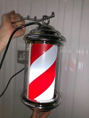 Barber pole Rotating Illuminated Light Red White Blue Stripes Hair Salon in Door