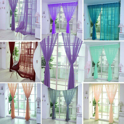 High Quality Pure Color Tulle Window Curtain Drape Panel Sheer Scarf Valances