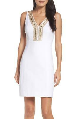 d9021ad2634004 NEW LILLY PULITZER White Gold Embellished Eliot Textured V-Neck Shift Dress  0