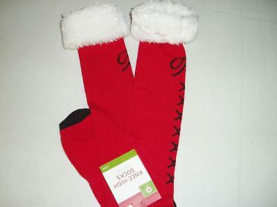 New Christmas Knee High Socks Faux Fur Cuff Red w/ Black Boot Lace