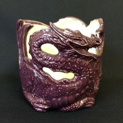 Dragon Candle Holder Gothic Fantasy Purple Ceramic Pencil Cup Halloween