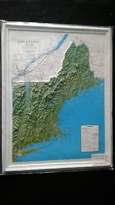 New England In 3-D Map by Kistler Graphics, 17 x 22""