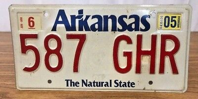 Arkansas The Natural State License Plate 2005 Sticker WhiteRed Old Version AR