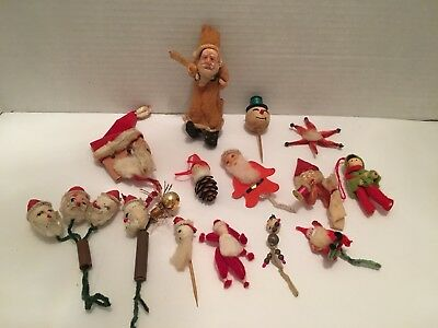 17 Piece Lot Vintage 1940's Christmas Decorations Paper Mache Pipe Cleaners