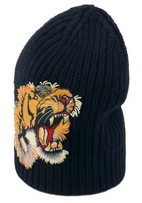 64095e26551 New Gucci Luxury Current Blue Knit 100% Wool Tiger Applique Beanie Hat 58 m