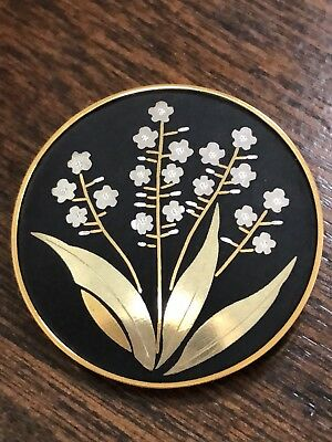 Vintage Damascene Signed Amita Japan Silver And Gold Inlay Pin Flower Brooch