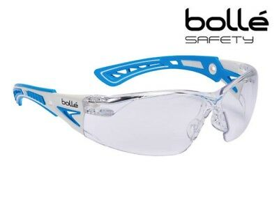 Bolle Rush+ Small Blue Anti-Fog Scratch Safety Glasses Spectacles Clear Lens