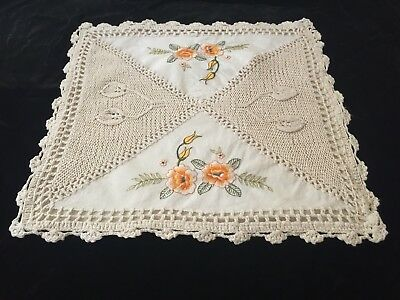 Vintage Embroidered Flowers Crocheted Pillow Case Apricot Beige Square