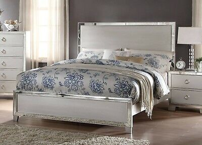 Queen Size Bed Platinum w/ Mirror Trim Inlay Transitional Look Bedroom Furniture