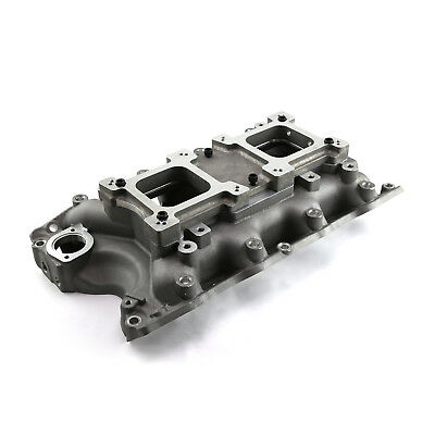 Ford BBF 429 460 Big Block Satin Open Intake Manifold w/Dual Carb Adapter