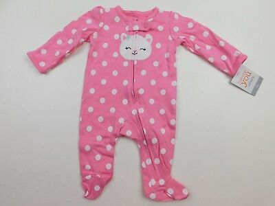 Carter's Just One You Girls Pink Cat Polka Dot Footed Sleeper Newborn NB NWT
