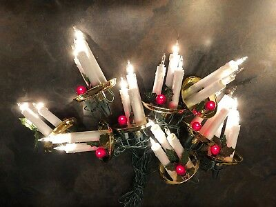 Vintage 36 Indoor Clip-On Mini Candles 3 Cluster Christmas Tree String Lights