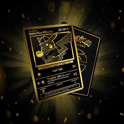 Detective Pikachu Luxury Black And Gold! Card!