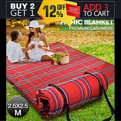 2.5X2.5M Extra Large Picnic Blanket Cashmere Rug Waterproof Mat Outdoor Camping