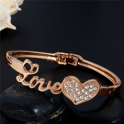 New Luxury 18K Gold Plated Austrian Crystal Love Bangle Bracelet Gift Jewellery