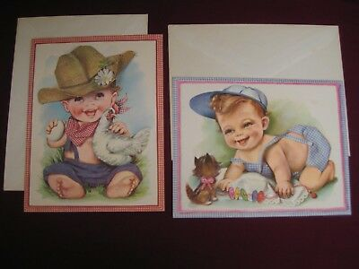 ANTIQUE BIRTHDAY CARDS Greeting Cards Babies Collectible Large