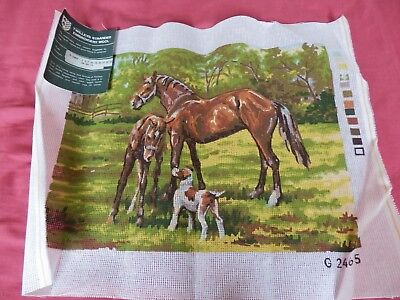 "Twilleys Tapestry canvas  - Horse Foal & Dog  15"" x 12""   NEW"
